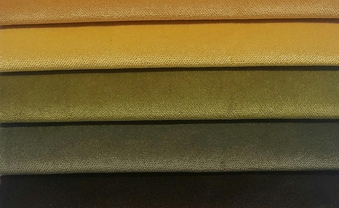 Ткани для бархатных штор хаки и золото