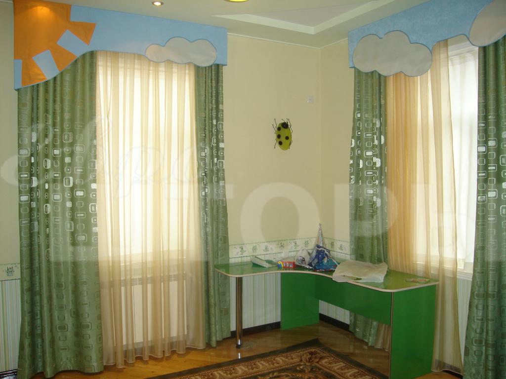 Оттенки зеленых штор